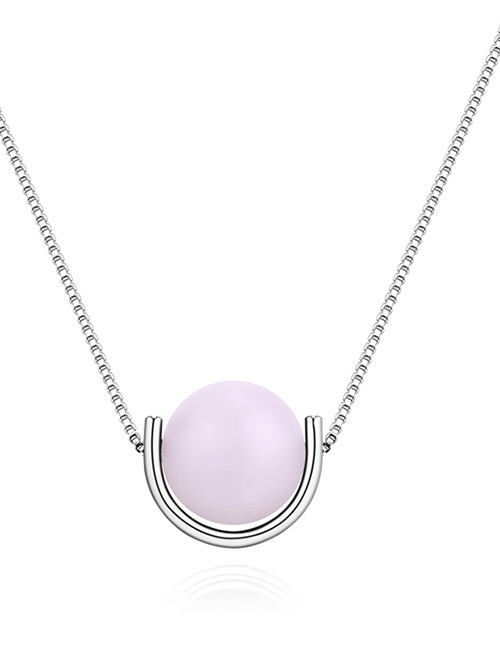 Fashion Silver Color+white Round Shape Decorated Necklace