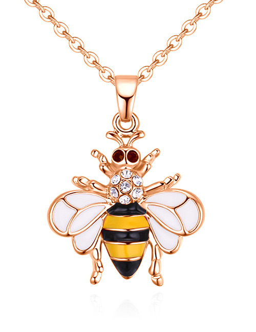 Fashion Rose Gold +yellow Bee Shape Decorated Necklace