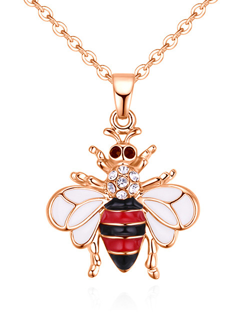 Fashion Rose Gold +red Bee Shape Decorated Necklace