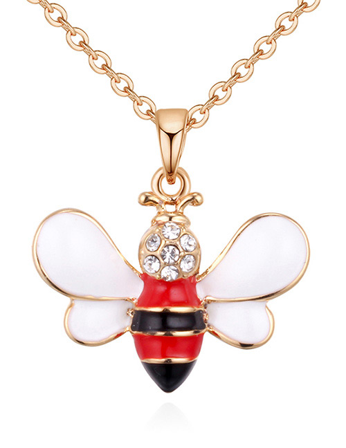 Fashion Gold Color+red Bee Shape Decorated Necklace