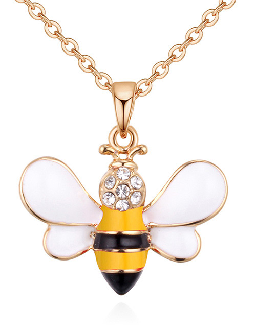 Fashion Gold Color+yellow Bee Shape Decorated Necklace