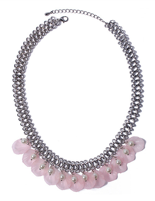 Fashion Light Pink Petal Shape Decorated Necklace