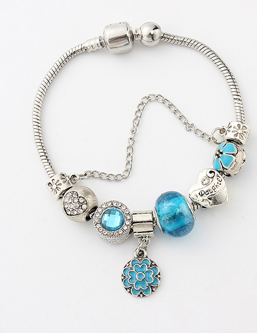 Fashion Silver Color+blue Flower Shape Decorated Bracelet