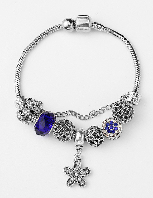 Fashion Sapphire Blue Flower Shape Decorated Bracelet