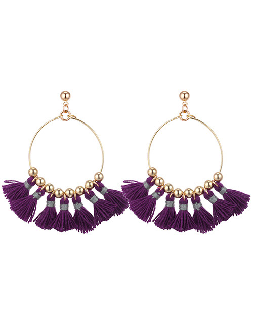 Fashion Purple Round Shape Decorated Tassel Earrings