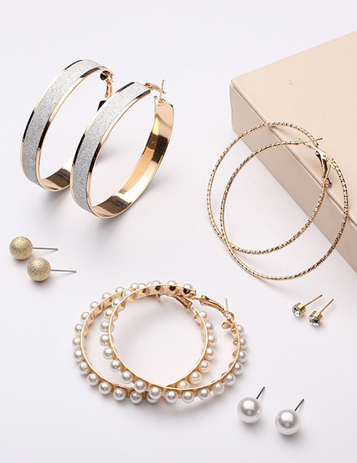Fashion Gold Color Round Shape Decorated Earrings Sets