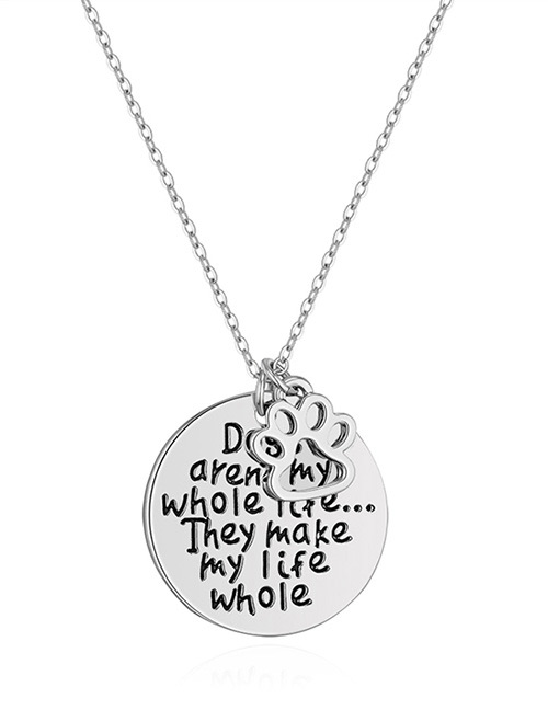 Fashion Silver Color Letter Pattern Decorated Necklace