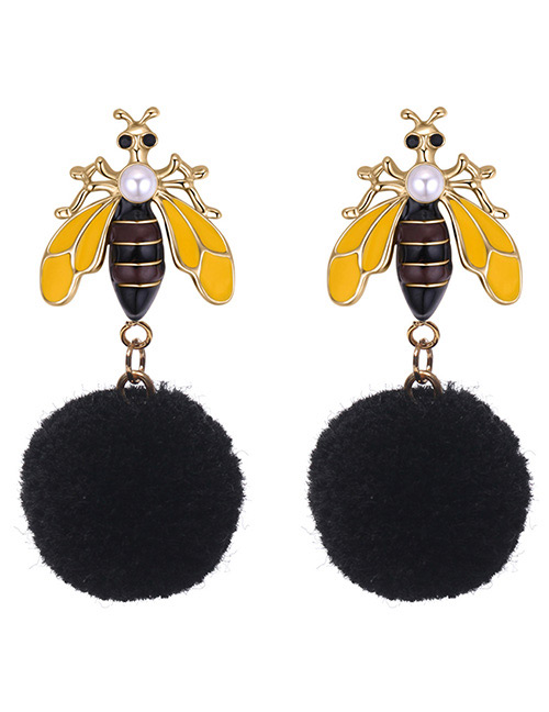 Fashion Black Bee Shape Decorated Earrings