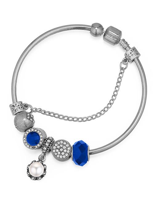 Fashion Sapphire Blue Geometric Shape Decorated Bracelet
