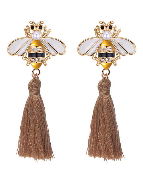 Fashion Khaki Bee Shape Decorated Tassel Earrings