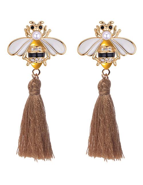 Fashion Khaki Bee Shape Decorated Tassel Earrings
