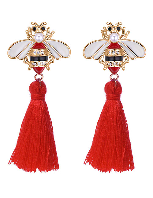 Fashion Red Bee Shape Decorated Tassel Earrings