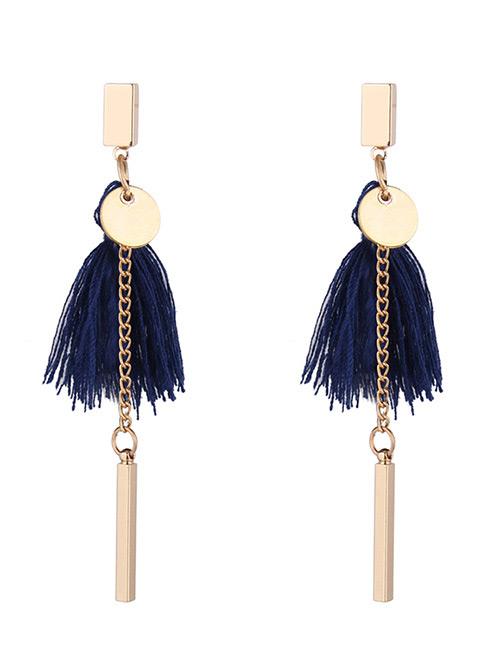 Fashion Navy Tassel Decorated Earrings