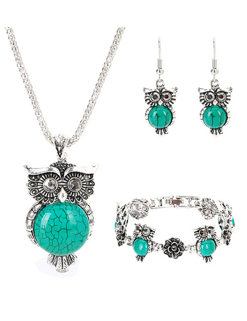 Vintage Green Owl Shape Decorated Jewelry Set