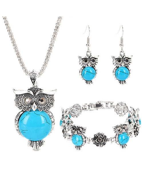 Vintage Blue Owl Shape Decorated Jewelry Set
