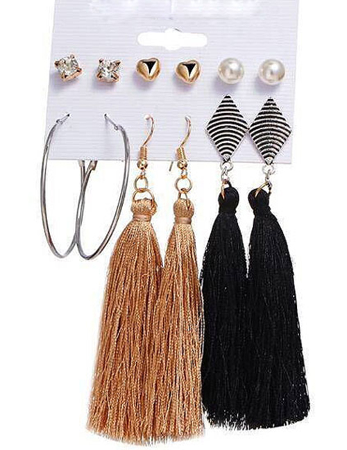 Fashion Gold Color+black Tassel Decorated Earrings (12 Pcs )