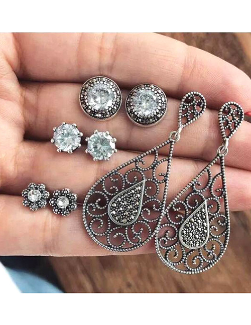 Fashion Silver Color Diamond Decorated Earrings (12 Pcs )