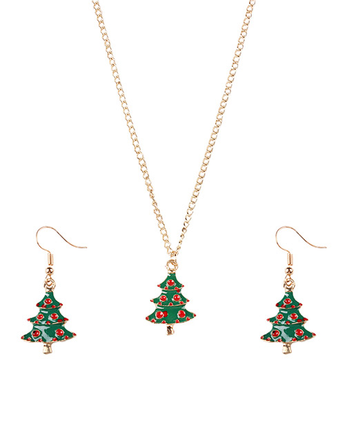 Fashion Green+red Christmas Tree Shape Decorated Jewelry Set