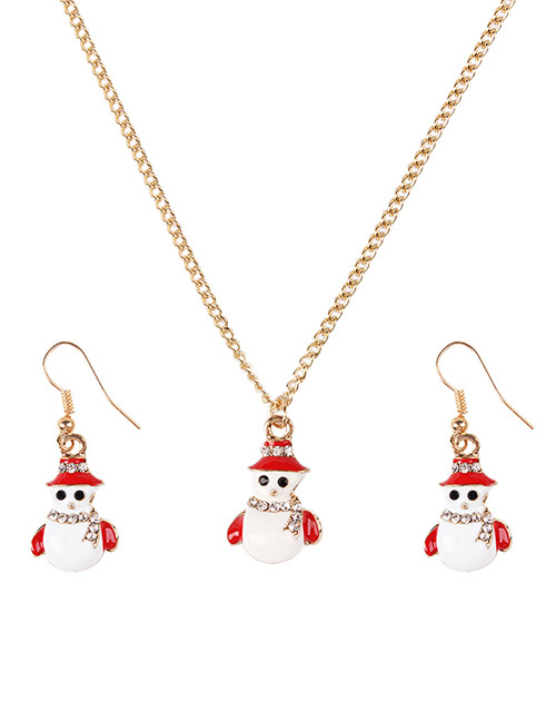 Fashion Red+white Snowman Shape Decorated Jewelry Set
