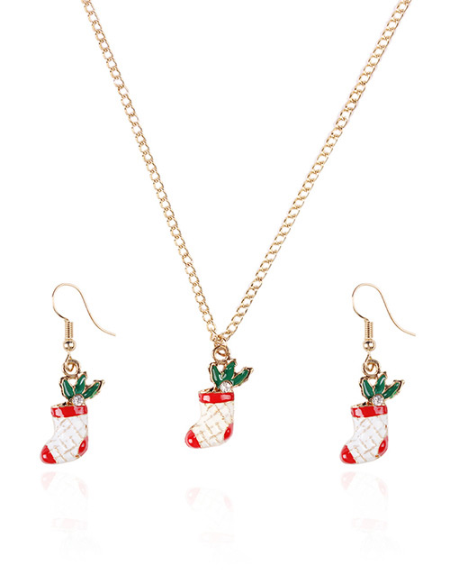 Fashion Red+white+green Christmas Socks Shape Decorated Jewelry Set