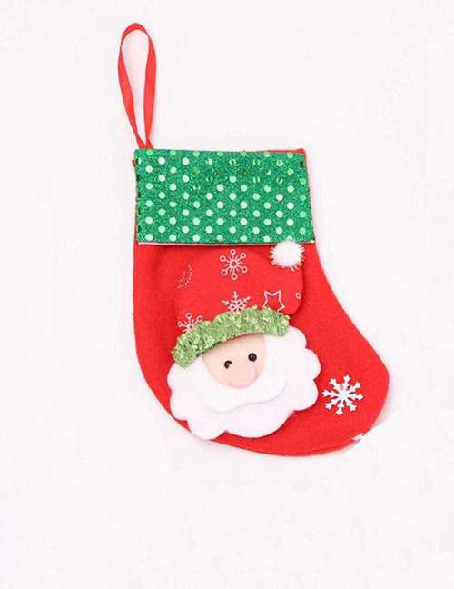 Fashion Red Santa Claus Pattern Decorated Sock