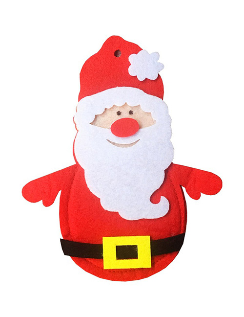 Fashion Red Santa Claus Shape Decorated Cutlery Cover