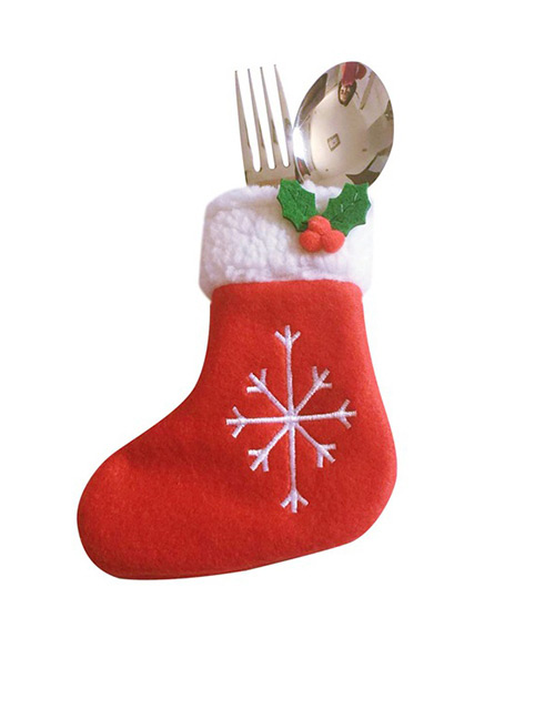 Fashion Red Snowflake Pattern Decorated Cutlery Cover