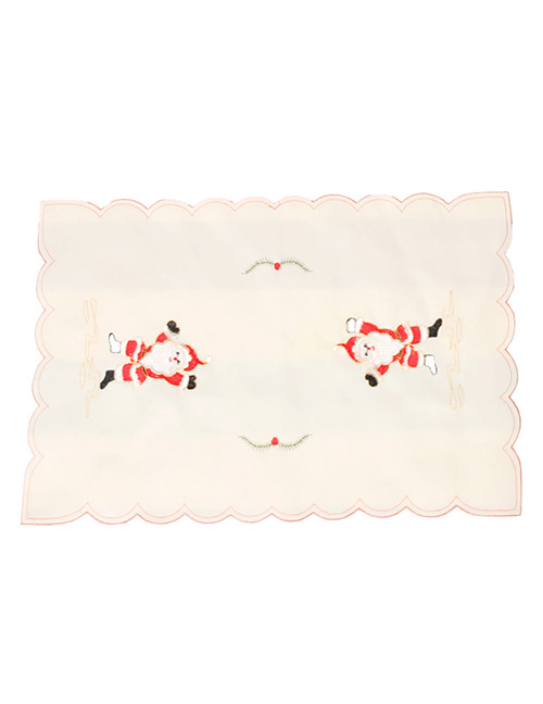 Fashion White Hollow Out Deisgn Flower Pattern Placemat