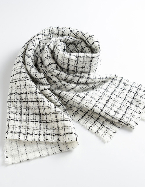 Fashion Beige Grids Pattern Decorated Scarf