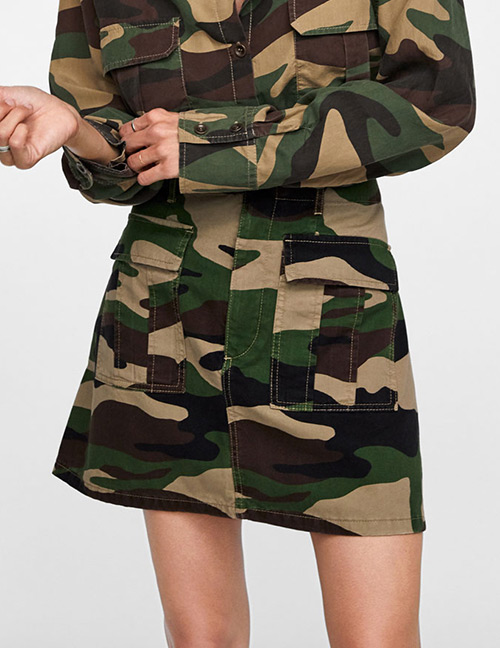 Fashion Camouflage Camouflage Pattern Decorated Skirt