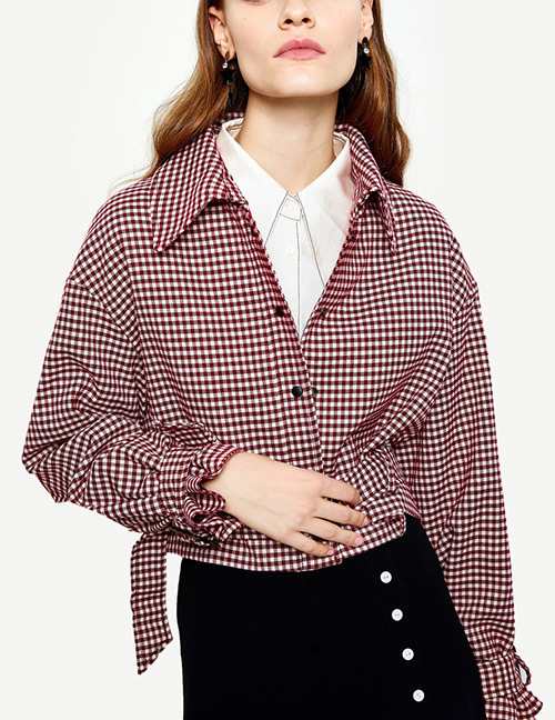 Fashion Pink Grids Pattern Decorated Coat