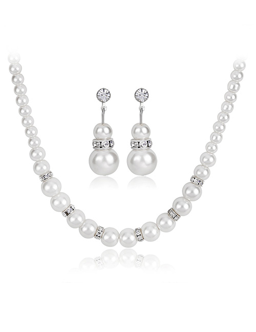 Fashion White Pure Color Decorated Jewelry Set