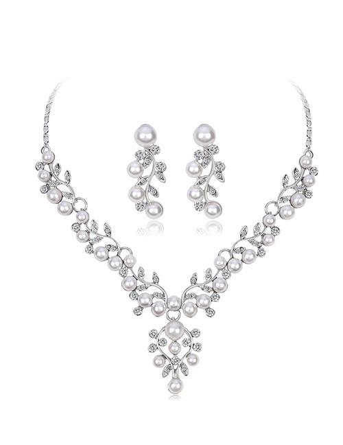 Fashion Silver Color Pearl&diamond Decorated Jewelry Set