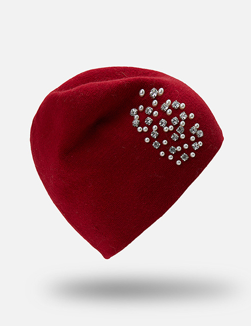 Fashion Red Diamond&pearl Decorated Hat
