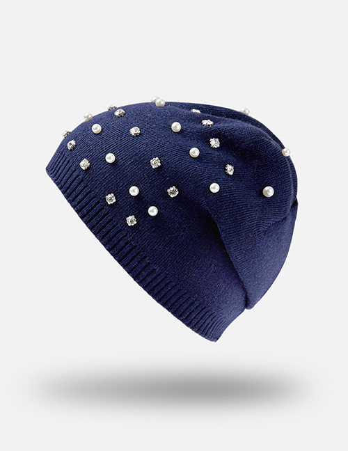 Fashion Navy Pearl Decorated Pure Color Hat