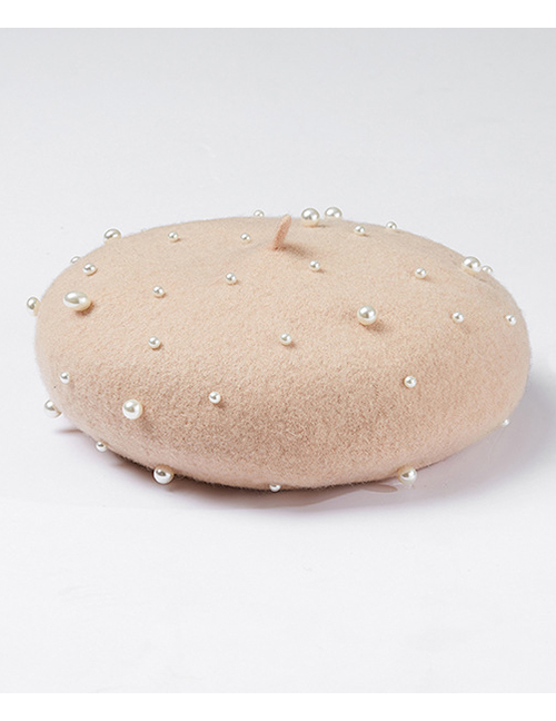 Fashion Beige Pearl Decorated Pure Color Berets
