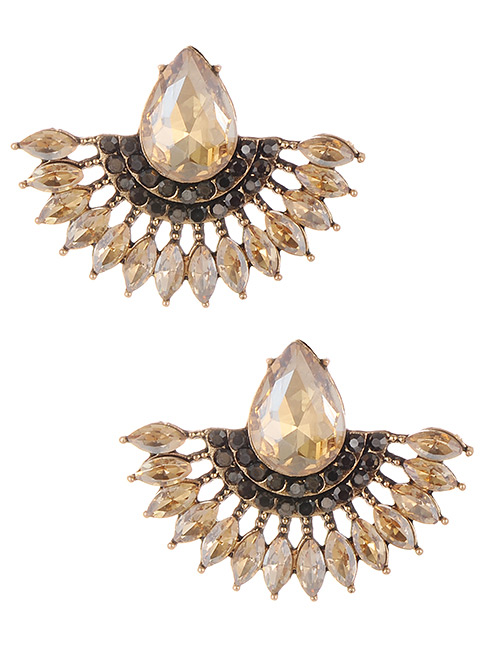 Fashion Champagne Water Drop Shape Decorated Earrings