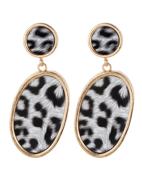 Fashion White+black Leopard Pattern Decorated Earrings
