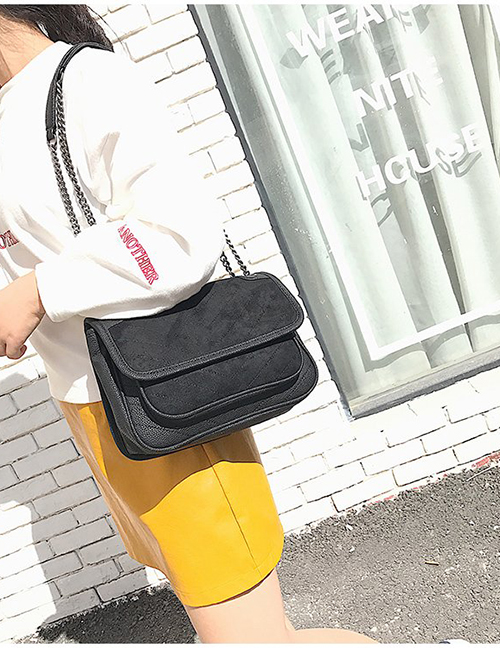 Fashion Black Square Shape Decorated Shoulder Bag
