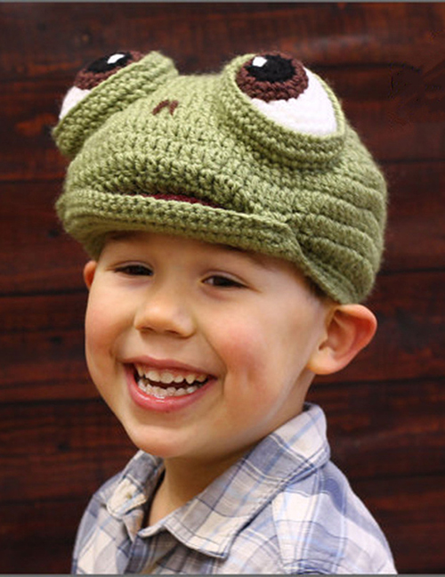 Lovely Green Cartoon Frog Shape Design Child Knitted Hat