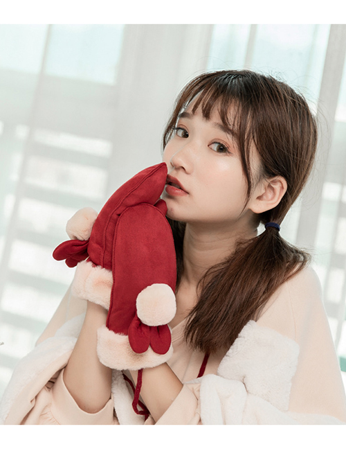 Fashion Red Rabbit Ears Decorated Thickening Gloves