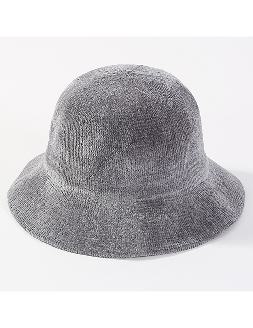 Fashion Gray Pure Color Decorated Knitted Hat