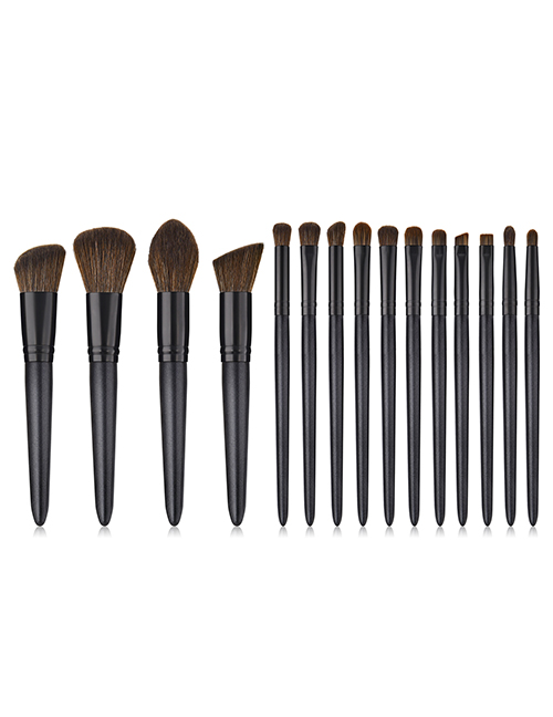 Fashion Black Sector Shape Decorated Makeup Bruch (15 Pcs )