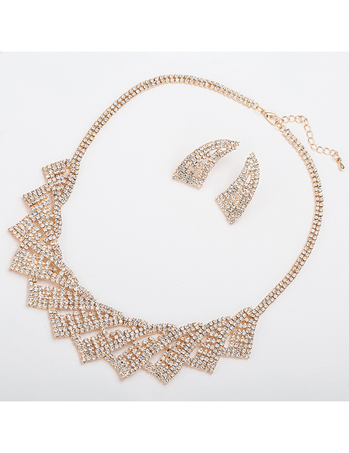 Fashion Gold Color Irregular Shape Design Bridal Jewelry Sets