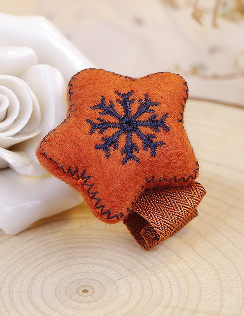 Lovely Brown Snowflake Pattern Decorated Hair Clip