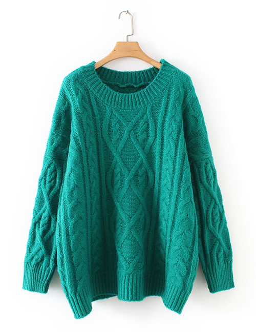 Fashion Green Pure Color Design Round Neckline Sweater