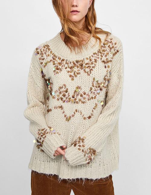 Fashion Beige Round Neckline Design Pure Color Sweater