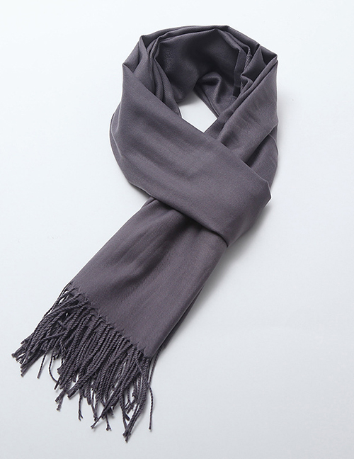 Fashion Dark Gray Tassel Decorated Pure Color Scarf