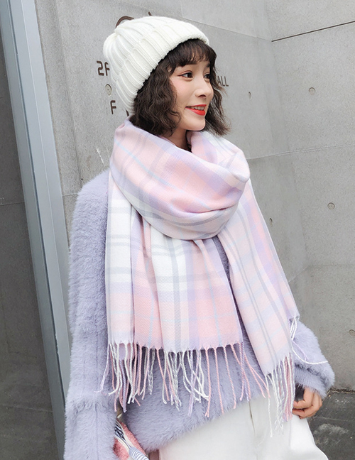 Fashion Pink Grid Pattern Decorated Tassel Scarf