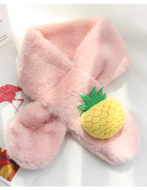 Fashion Pink Pineapple Shape Decorated Child Scarf